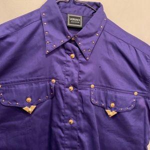 Gianni Versace 90s purple cowboy shirt collar
